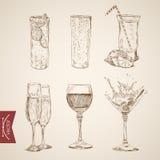 Verres d'alcool de vin de limonade de cocktail gravant le vintage illustration de vecteur