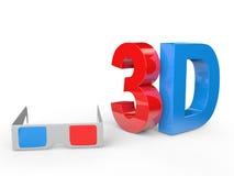 verres 3d et texte Images libres de droits