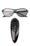 verres 3d et TV à télécommande Photographie stock