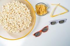 verres 3d pour le cinéma à la maison Photo libre de droits