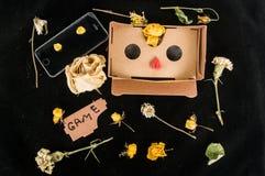 verres 3D pour le jeu au téléphone portable Fond coloré Instruments et fleurs disposition photo stock