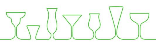 Verres de barre une ligne icônes réglées Le verre de vin, tasses, attaque le vecteur courant de _ illustration libre de droits