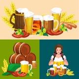 Verres de bière blonde et foncée avec des casse-croûte sur un fond de bar illustration de vecteur