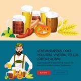 Verres de bière blonde et foncée avec des casse-croûte sur un fond de bar Photos stock