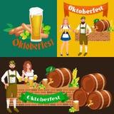 Verres de bière blonde et foncée avec des casse-croûte sur un fond de bar illustration libre de droits