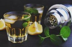 Verres de boisson alcoolisée avec le citron Image libre de droits