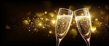 Verres de champagne avec l'effet de bokeh Images stock