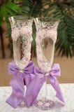 Verres de champagne de mariage Photographie stock libre de droits