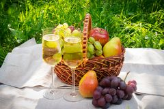 Verres de champagne et de panier avec des fruits sur l'herbe Images libres de droits