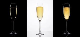Verres de Champagne sur les milieux noirs et blancs Photographie stock libre de droits