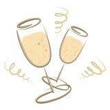 Verres de Champagner - nouvelles années Ève - Joyeux Noël images libres de droits