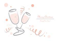 Verres de Champagner - nouvelles années Ève - Joyeux Noël photo stock