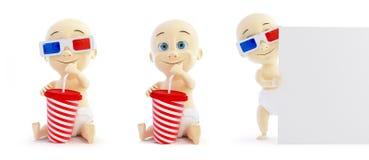 Verres de cinéma du bébé 3d réglés Images libres de droits