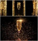 Verres de collage de champagne Images stock