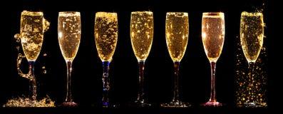 Verres de collage de champagne Image libre de droits