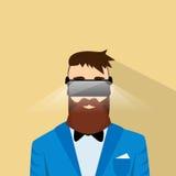 Verres de Digital d'usage de jeu vidéo de jeu de Cyber de réalité virtuelle d'homme d'affaires Images stock
