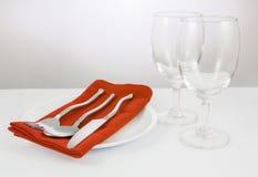 verres de fourchette et de couteau et de vin Photographie stock