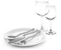verres de fourchette et de couteau et de vin Photographie stock libre de droits
