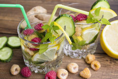 Verres de l'eau avec le fruit, le gingembre, le concombre et le Basil Image libre de droits
