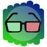 Verres de l'icône 3d Le signe du cinéma Images stock