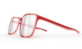 Verres de lecture rouges sur un fond blanc Photos libres de droits