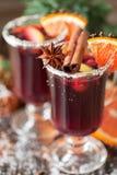Verres de poinçon pour l'hiver et le Noël avec les fruits et le vin Photo libre de droits