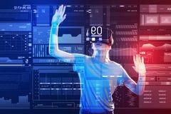 Verres de port émotifs de réalité virtuelle de jeune fille et mise de ses mains  Photographie stock libre de droits