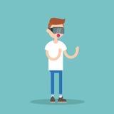Verres de port de réalité virtuelle de jeune adolescent de ballot/à plat ed Photo stock