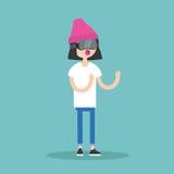 Verres de port de réalité virtuelle de jeune adolescente Photographie stock libre de droits