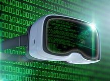 Verres de réalité virtuelle, pirate informatique futuriste, technologie d'Internet et concept de réseau Photos stock