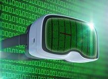 Verres de réalité virtuelle, pirate informatique futuriste, technologie d'Internet et concept de réseau Photo stock
