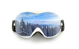 Verres de ski d'isolement sur le blanc Image libre de droits
