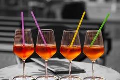 4 verres de spritzer Images stock