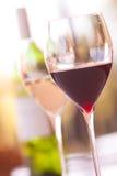 Verres de vin avec la bouteille de vin blanc Photo libre de droits