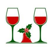 Verres de vin et cloche de Noël photographie stock libre de droits