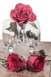 Verres de vin et roses fanées Image stock