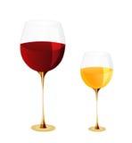 Verres de vin et vin Images stock