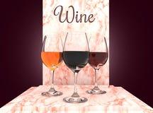 Verres de vin réglés Photos libres de droits