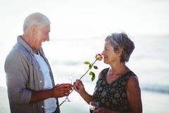 Verres de vin rosé et rouge de participation supérieure de couples Photos stock