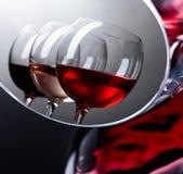 Verres de vin rose, rouge et blanc Photos stock