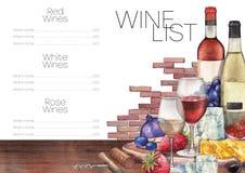 Verres et bouteilles de vin d'aquarelle décorés de la nourriture délicieuse Image libre de droits
