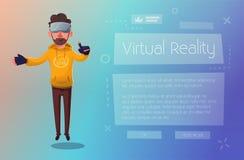 Verres numériques de réalité virtuelle d'usage de caractère Illustration de vecteur de dessin animé Images libres de droits
