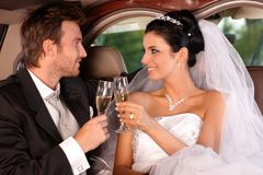 Verres tintants de jeunes mariés Image stock