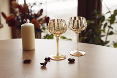 Verres vides de champagne Photos stock