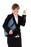 Verärgerte Geschäftsfrau mit Aktenkoffer Stockbilder