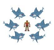 Verärgerte Haifische umgaben Mann im alten Taucheranzug Furcht, hoffnungsloses s Stockfotografie