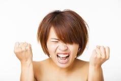 verärgerte junge Frau und Schreien des Schreiens Stockbild