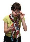 Verärgerter Lehrer mit einer Nadelanzeige Stockfotos