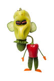 Verärgerter Mann gemacht vom Gemüse Stockfoto