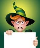 Verärgerter Zaubererjunge, der leere Fahne, Halloween-Fahnenillustration hält Stockfotografie